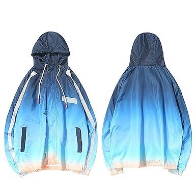 Harajuku Hooded Jacket Windbreaker Gradient Color Hip Hop Casual Streetwear Men Vintage Tie Dye Hoodie Track