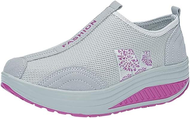 Zapatos Gym Running Verano Primavera otoño,ZARLLE Mujeres de Moda de Malla de Aumento de Zapatos Blandos Fondo de balancín Zapatos Zapatillas: Amazon.es: Zapatos y complementos