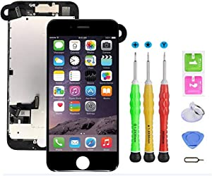 Screen Replacement Compatible with iPhone 7 4.7 inch Full Assembly - LCD 3D Touch Display Digitizer with Sensors and Front Camera, Fit Compatible with iPhone 7 4.7 inch-Black