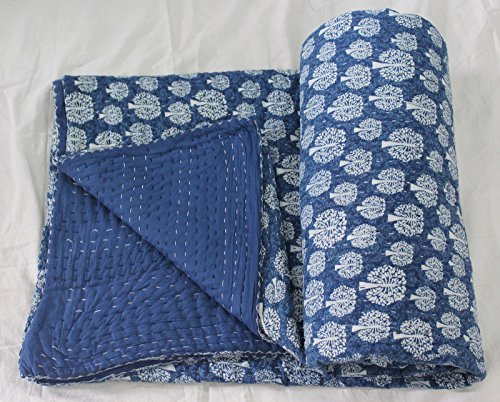 Craftofpinkcity Indigo Blue Kantha Quilt With cotton Sheet Queen made with Organic Cotton, Soft and Lightweight; Breathable Hand Stitches and Eco Friendly Bedspread Tree Of Life #02