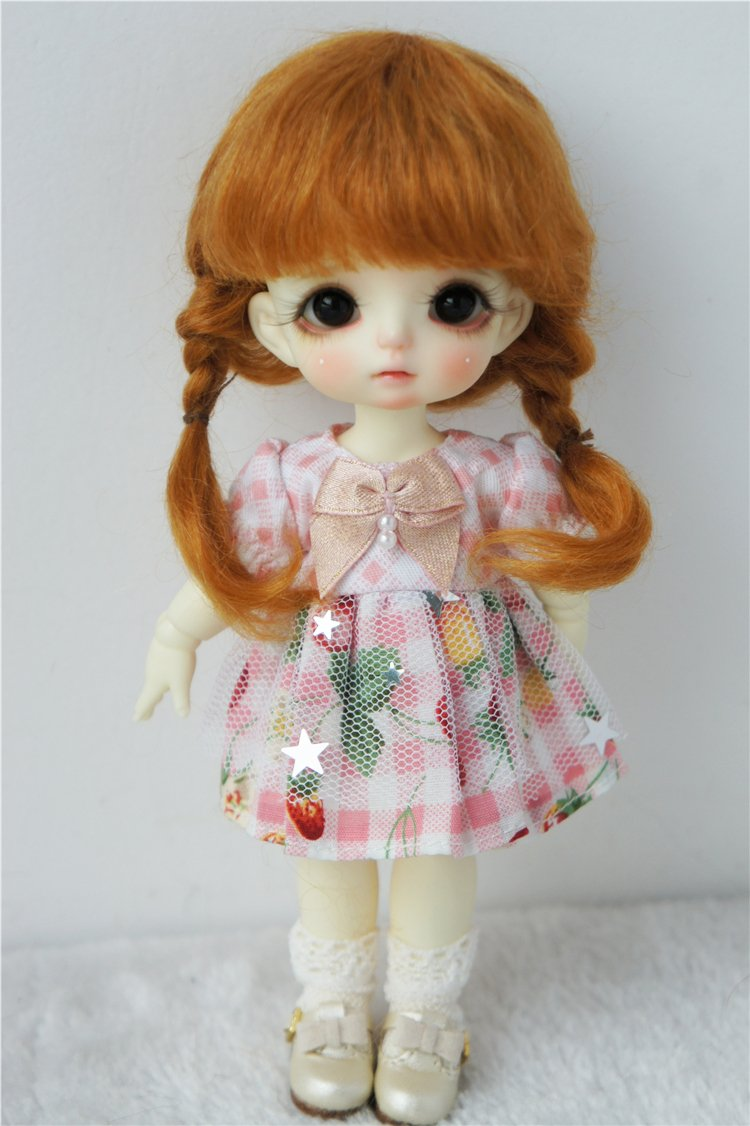 JD143 Ana Short Braids Mohair BJD Doll Wigs (Ginger, 5-6inch)