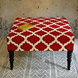 Christmas Gifts Ottoman Foot Rest Stool Traditional Square Upholstered Cotton Red and White with Removable Legs Handmade Home Furniture Decor