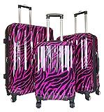 Trendy Flyer 3pc Luggage Set Travel Hardside Rolling 4wheel Spinner Carryon Zebra