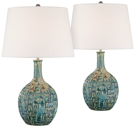 turquoise table lamp large midcentury teal ceramic gourd table lamp set of amazoncom