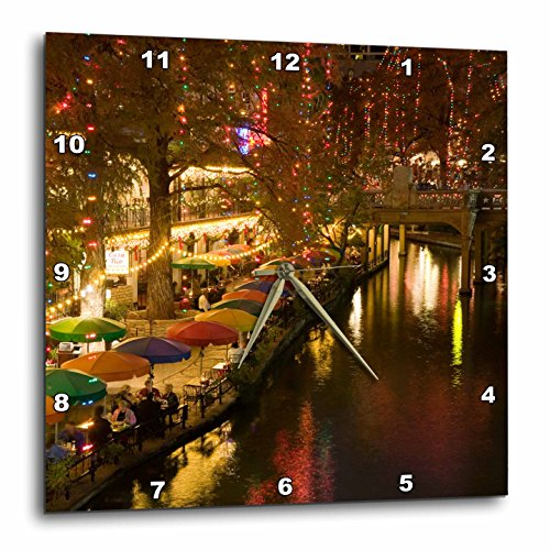 3dRose USA, Texas, San Antonio Riverwalk Area / Evening - Us44 Wbi0260 - Walter Bibikow - Wall Clock, 10 by 10-Inch - San Antonio In Texas Outlets