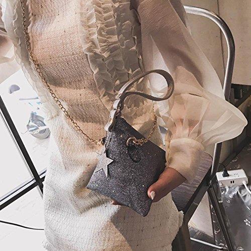 Mini Clutch Party Handbag Sequins Women Purse Shining Triangle Grey Crossbody PU Widewing wXt4Fpqt