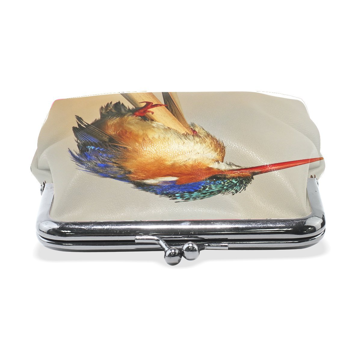 Women Animal Brid Kingfisher Colorful Print Wallet Exquisite Clasp Coin Purse Girls Clutch Handbag