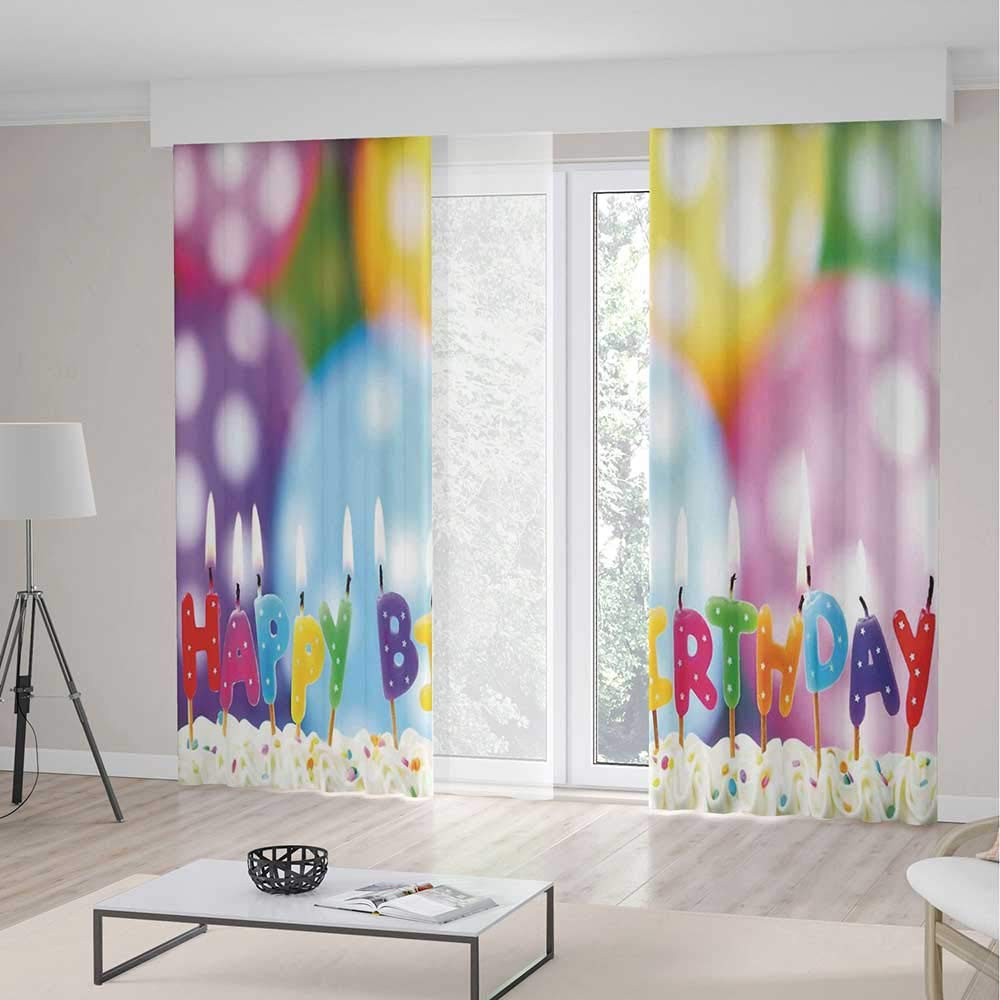 Decor Collection,Birthday Decorations for Kids,for Bedroom Living Dining Room Kids Youth Room,Colorful Candles on Party Cake with Abstract Blurry Backdrop,157Wx106L Inches by TecBillion (Image #1)