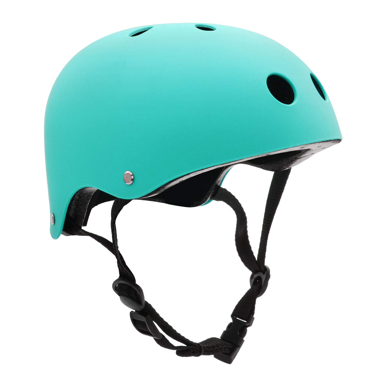 FerDIM Skateboard Helmet, Kids Adult Bike Helmet with Removable Liner Skiing, Adjustable Straps CPSC Certified for Skateboard, Scooter, Skating, Cycling Light Blue, Medium 21.3 -22.4 54-57CM