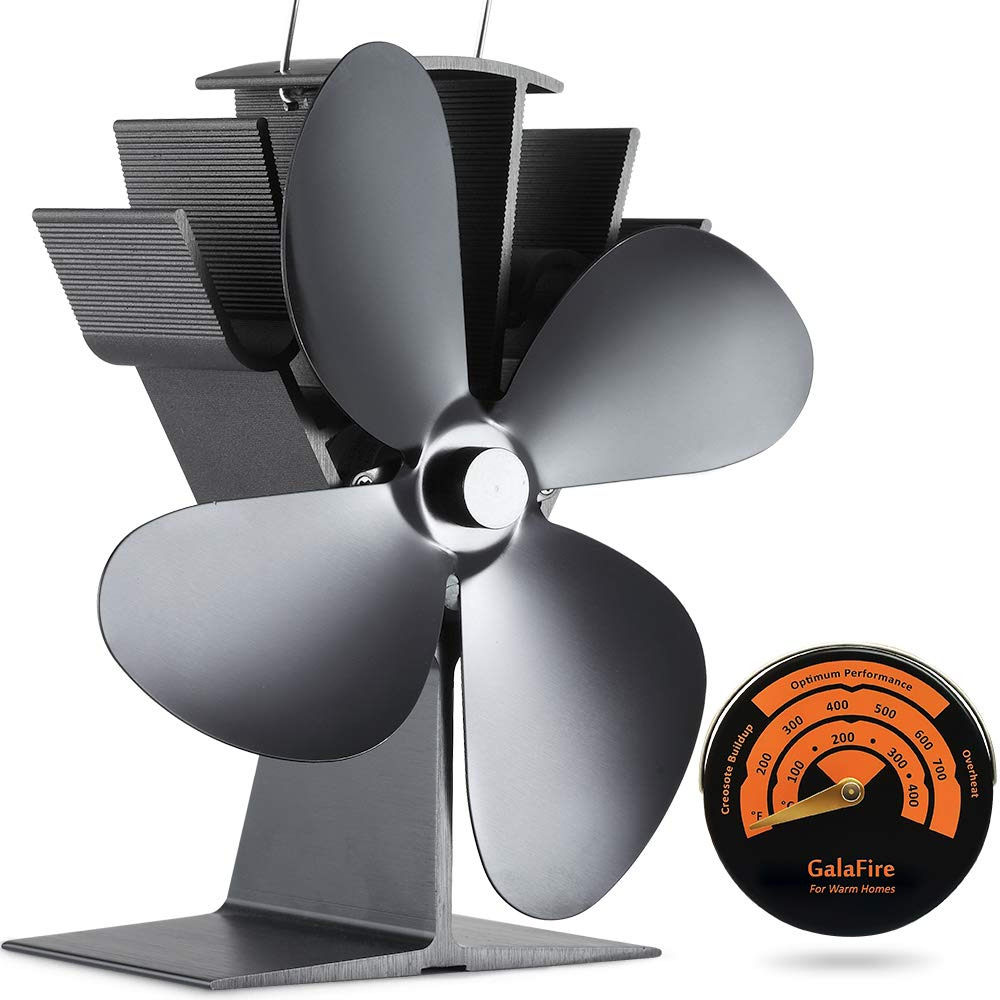GALAFIRE [ 2 Years ] 122°F Start Silent Heat Powered Wood Stove Fan 4 Blade Black Small for Gas/Pellet/Wood/Log Burning Stoves + Thermometer by GALAFIRE