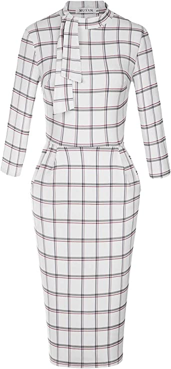 MUXXN Womens Classic Vintage Tie Neck Formal Cocktail Dress with Pocket