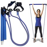 Pilates Bar Kit With Adjustable Resistance Bands Portable Home Gym Equipment x3 Full Body Workout Exercise Band For All Level