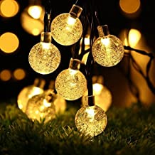 Lychee 20ft Outdoor Solar Powered Chirstmas 30 PCS Crystal Globe Led String Lights For Hom Yard, Garden Wedding, Halloween Party. (Cystal, 30Led ,Warm white)