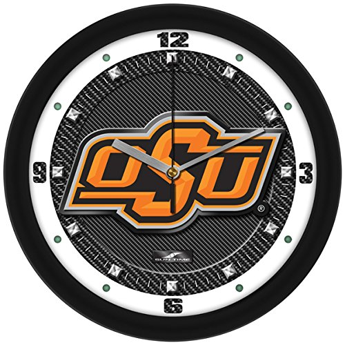 (SunTime NCAA Oklahoma State Cowboys Textured Carbon Fiber Wall Clock)