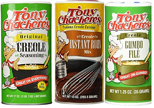 Tony Chachere's Cajun Sensations Bundle - 1 each of Original Creole Seasoning 17 Ounce, Instant Roux and Gravy Mix 10 Ounce and Gumbo File' 1.25 - Gumbo Tony File Chacheres