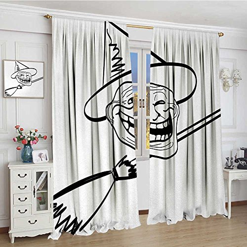 youpinnong Humor Blackout Window Curtain Halloween Spirit Themed Witch Guy Meme LOL Joy Spooky Avatar Artful Image Print Patterned Drape for Glass Door 96