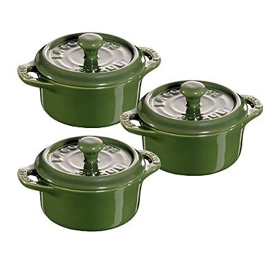 Staub Ceramic 3-pc Mini Round Cocotte Set - Basil