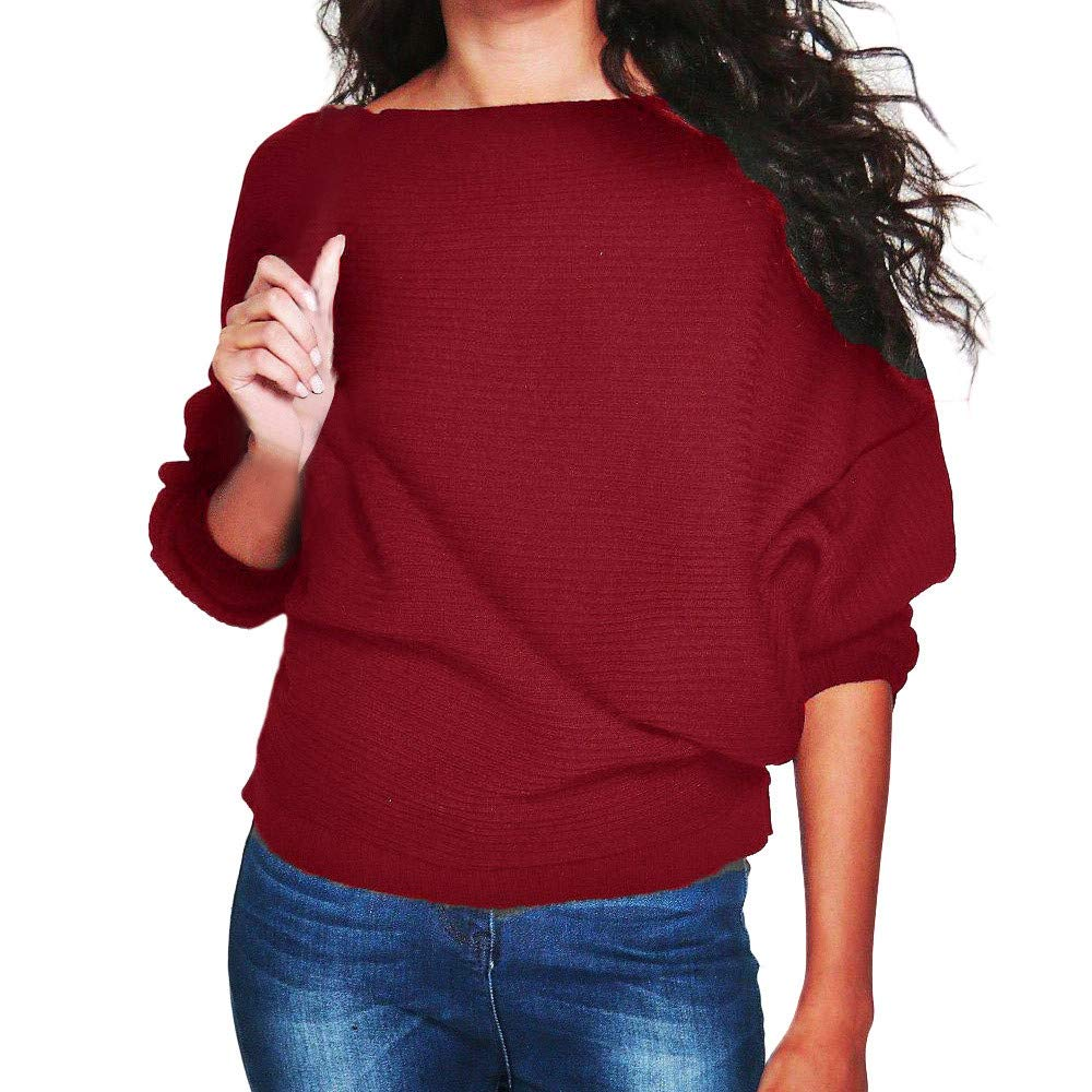 Women Tops and Blouse Women's Batwing Sleeve Knit Pullover Sweater Casual Loose Jumper Blouse Tops