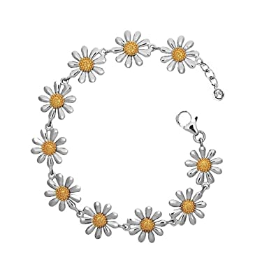 Silver Daisy Bracelet, Three Daisies with 18ct Gold Plated Centres, Adjustable Length
