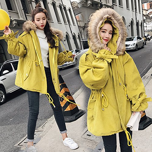 Xuanku Winter Loose In The Long Section Of Thick Cotton Jacket Female Corduroy Cotton Cotton Jacket Bright yellow 5208