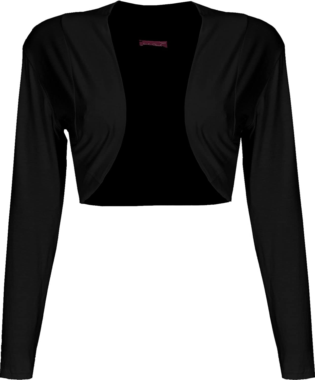 Body2Body Ladies Long Sleeve Plain Bolero Shrug Cropped Viscose Jersey Top Women UK 8-22