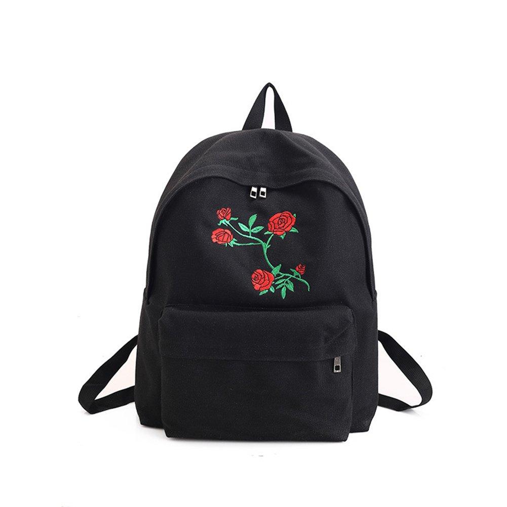 Doitsa 1X Sac à Dos en Toile College Lycée Scolaire Voyages Simple Loisirs Fille Femme Sac à Dos Backpack School Motif Rose