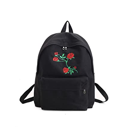 Hosaire New Fashion Lady s Canvas Backpack Girl s Satchel School Bags Rose  Embroidery Design on Women s Travel a4909b4d3c