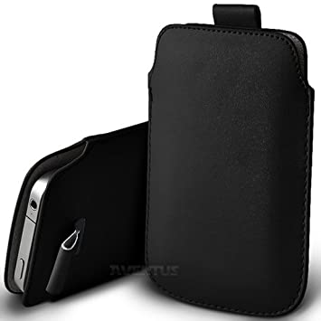 meet 4ccf2 ab21d Aventus (Black) Samsung Galaxy A5 (2017) Case High Quality Pouch Sleeve  Faux Leather Case Cover with Pull Tab Cord Slip In