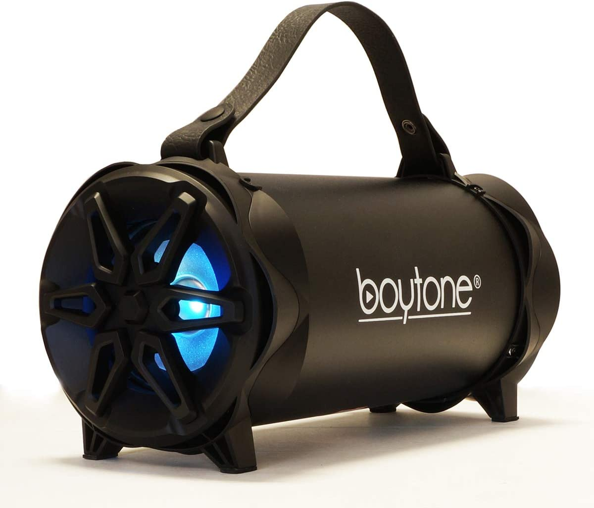 """3/"""" Subwoofer player Boytone BT-42BK Portable Bluetooth Boombox Speaker Indoor//Outdoor 2.1 Hi-Fi Cylinder Loud Sound RGB Lights Built-In 4 FM Radio AUX Inputs USB Mobil Charging Micro SD Slot"""
