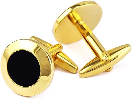 Beydodo Gemelo Camisa Cobre Gemelos para Boda Hombre Redondo Gemelos Oro Negro: Amazon.es: Joyería