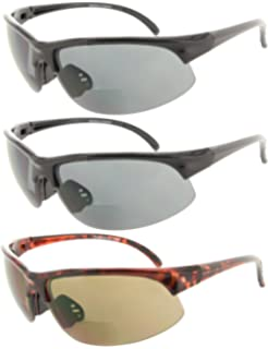 047e82ab9f5 Fiore 3 Pack or 1 Pack Bifocal Sport Wrap Reading Sunglasses Readers for Men  and Women
