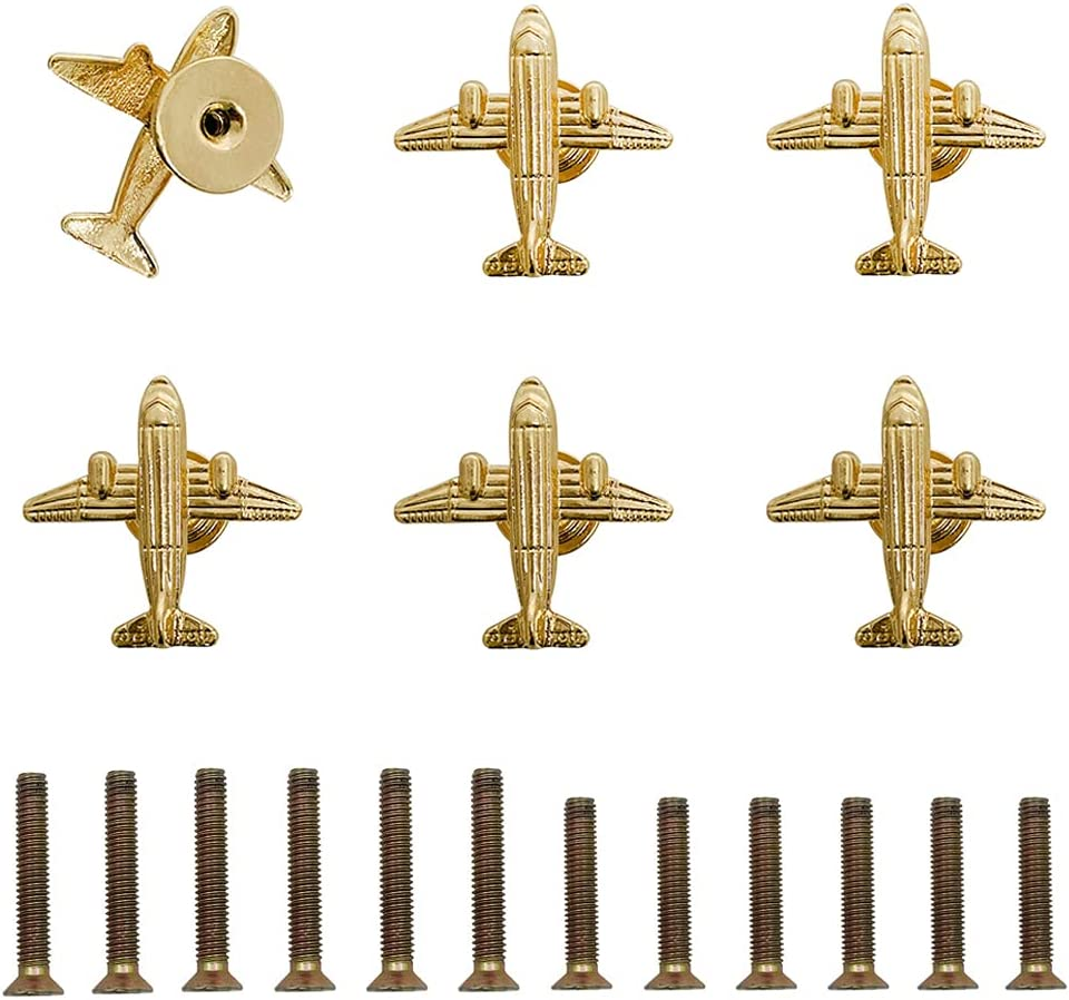 Welldoit 6 Pcs Unique Airplane Shape Knob Aircraft Handle Single Hole Furniture Door Pull for Drawer Closet Bedside Cabinet Wine Cabinet Hardware Plane Decoration Accessories (✈Gold✈)