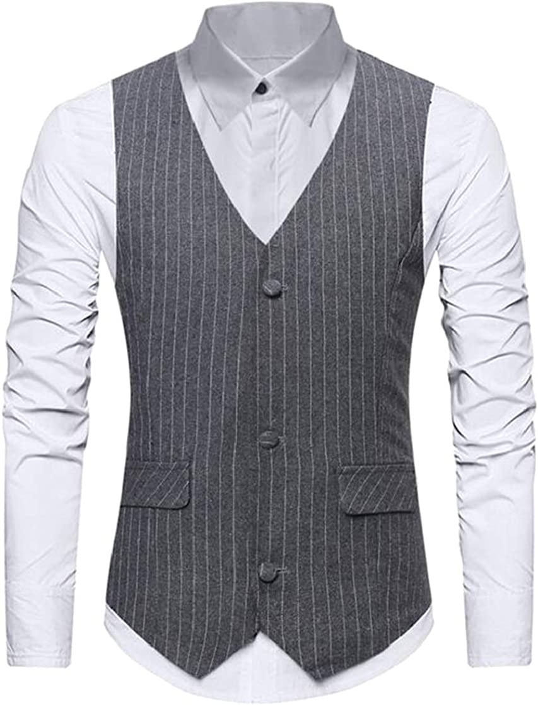 KLJR Men Waistcoat Single Breasted Business Basic Striped Dress Vest