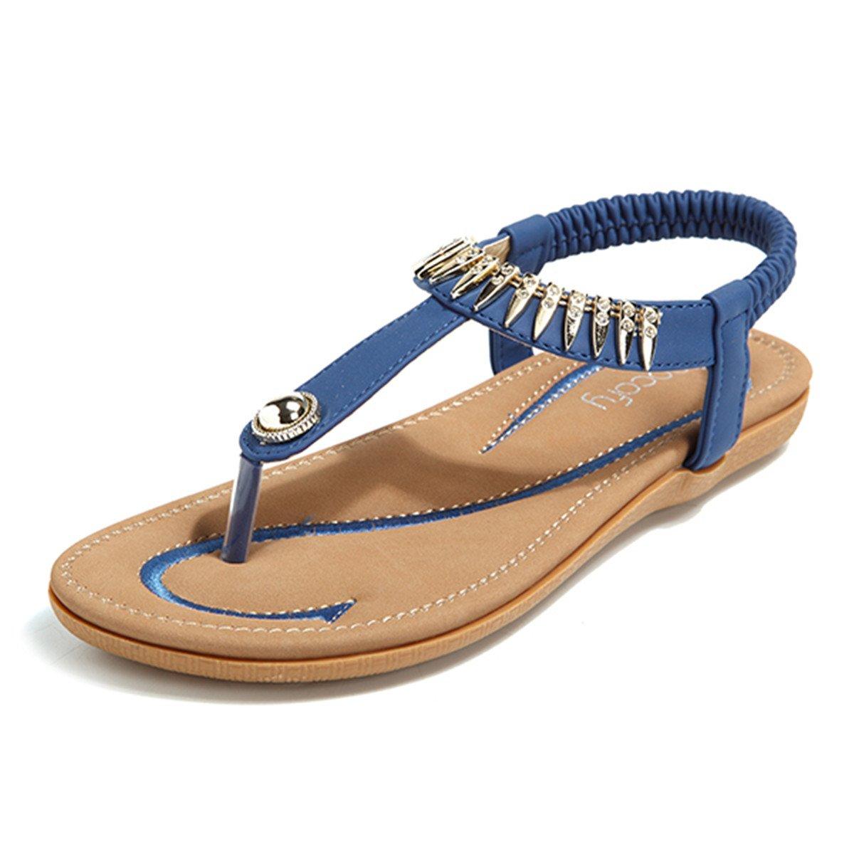 Socofy Bohemian Sandals,Women's Metal Elastic Flat Sandals Summer Bohemia Style Clip Toe Flip Flops Shoes Blue 9 B(M) US