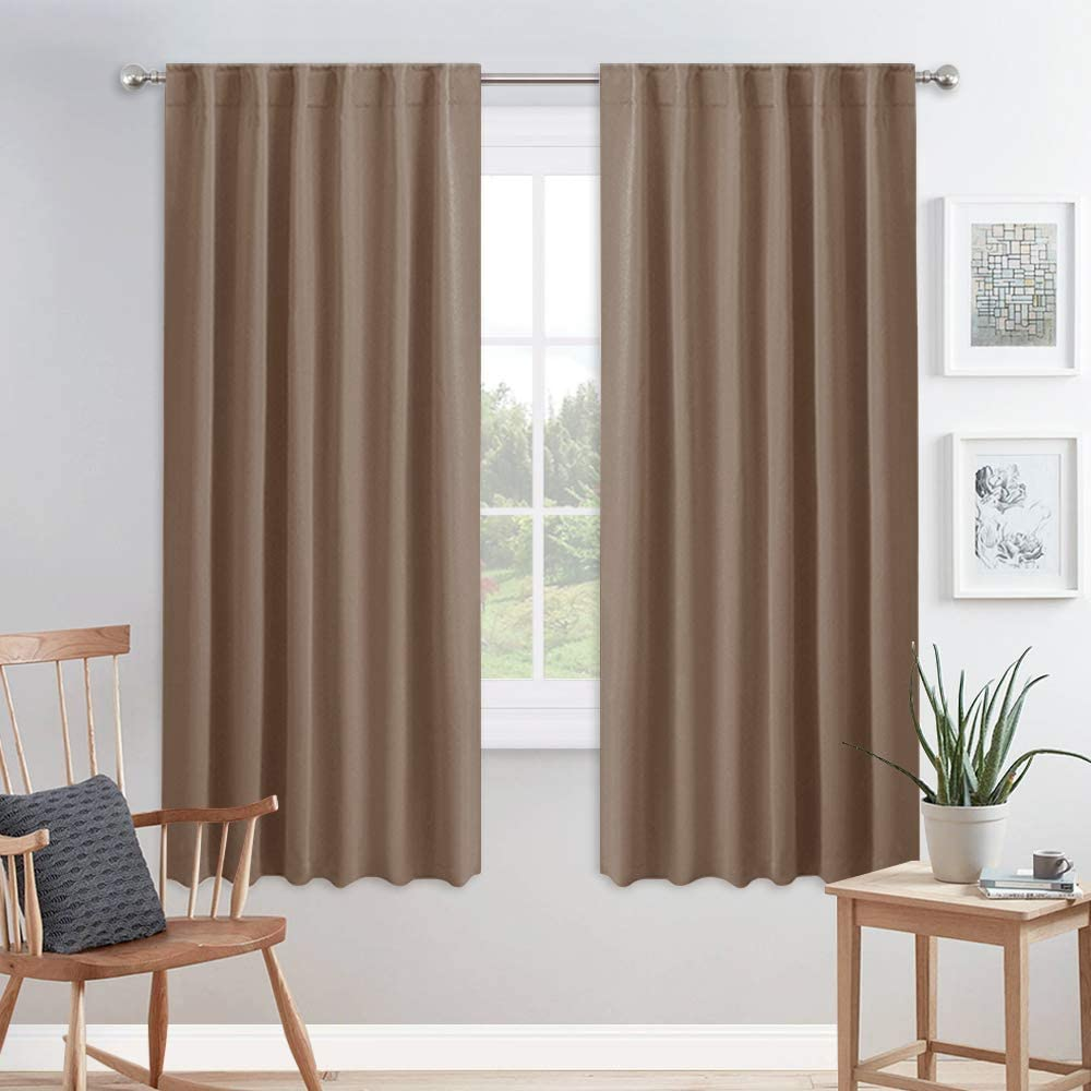 PONY DANCE Window Blackout Curtains - Curtain Draperies Light Blocking Energy Saving for Living Room Home Decoration Thermal Insulated Fabric, 52 Wide x 72 inches Long, Mocha, 2 PCs