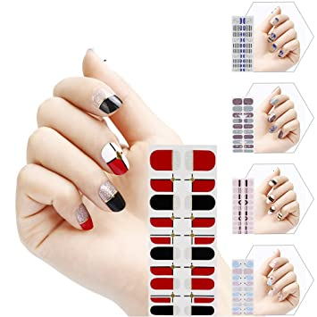 5 Different Sheets Cute Full Nail Art Sticker with a Nail File, 20 ...