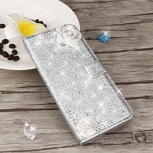 Para Samsung Galaxy S9 Plus Resplandecer Bling Cadena de diamantes PU Funda de cuero, cubierta del soporte del tirón Cartera Titulares Magnética del cierre Ultra Thin Flip Funda protectora con ranura  Plata
