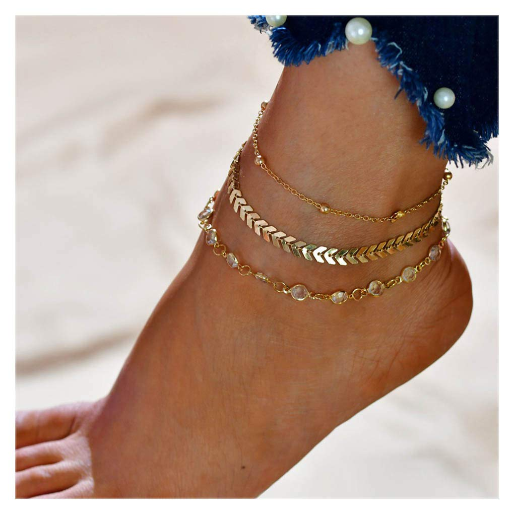 Tgirls Layered Arrow Anklets Crystal Ankle Bracelet Anchor Beach Foot Jewelry for Women and Girls