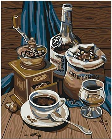 Pintura por kits de Números para Adultos Niños Pintura de Bricolaje Cafetera 16×20