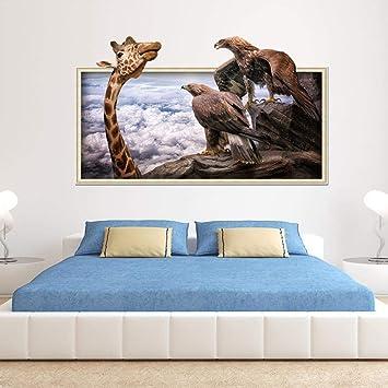 Y-XM 2 * 3D Etiqueta de la Pared Etiqueta engomada Jirafa portaretrato águila hogar decoración Mural 50 * 70cm: Amazon.es: Hogar