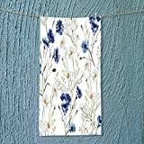 SOCOMIMI Soft Luxury Towel Decor Wildflowers Cornflowers Daisies Blooms and Buds Picture Print Accessories Blue Absorbent Ideal for Everyday use