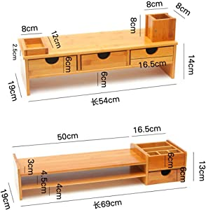 Bamboo Screen StandsErgonomic Monitor Display Sturdy with Storage Screen Stand Ups for Home and Office Screen-C