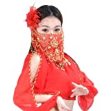 Women's Charming Belly Dance Sequins Tribal Face Veil With Beads