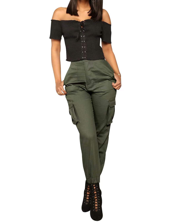 edc92cfdef0 Pantalon Cargo Femme Taille et Bas Elastique Pantalon de Jogging Femme  Chino Skinny Taille Grande