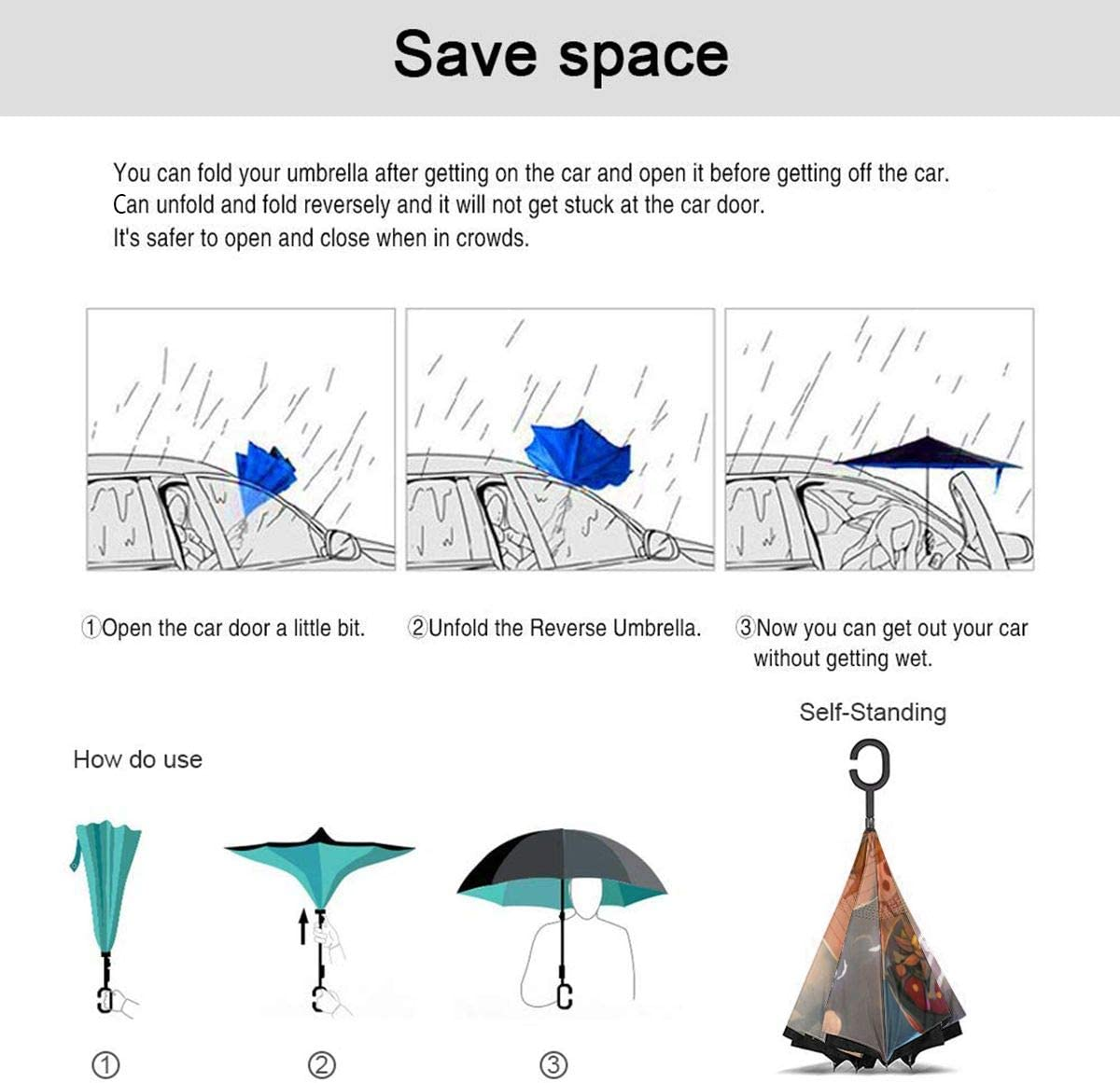 ONE PIECE Car Reverse Umbrella Windproof And Rainproof Double Folding Inverted Umbrella With C-Shaped Handle UV Protection Inverted Folding Umbrellas