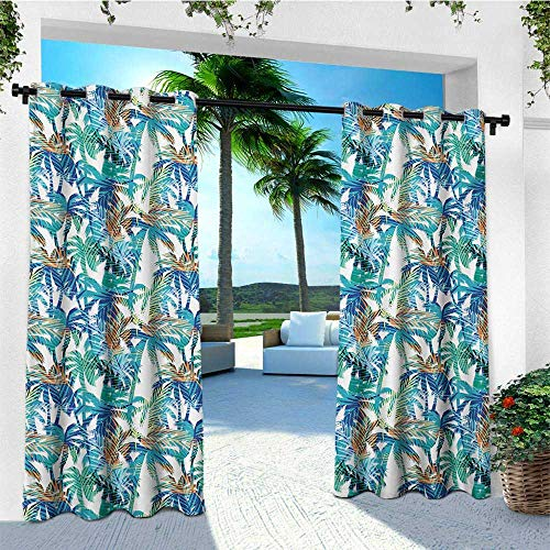 leinuoyi Palm Leaf, Outdoor Curtain Pole, Tropical Summer Print with Palm Abstract Nature Pattern Fantasy Dream, for Balcony W96 x L108 Inch Blue Mint Green Orange