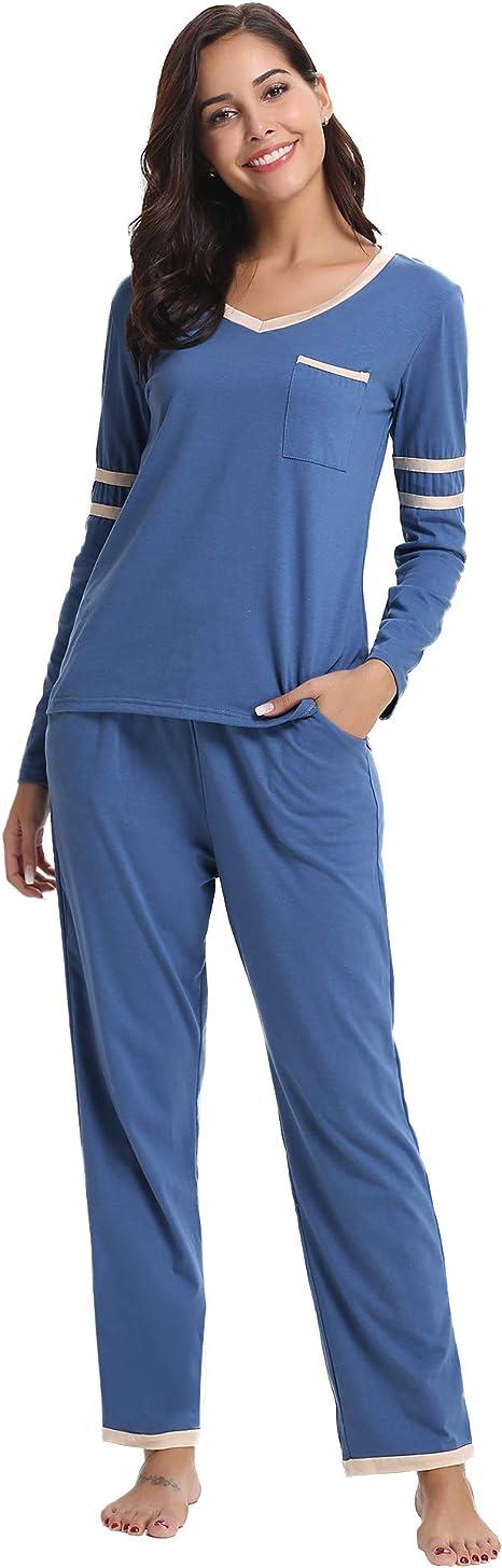 Hawiton Pijama Mujer de Algodón Invierno Otoño Mangas Larga ...