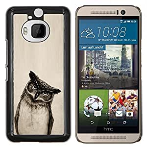 Cubierta protectora del caso de Shell Plástico || HTC One M9+ M9 Plus || Owl Art Dibujo Lápiz Negro Blanco Noche de Aves @XPTECH