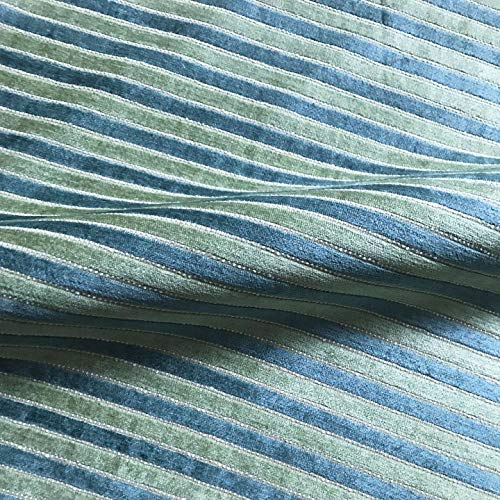 """Teal English Summer Garden Stripe Chenille Upholstery Fabric by The Yard - 54"""""""