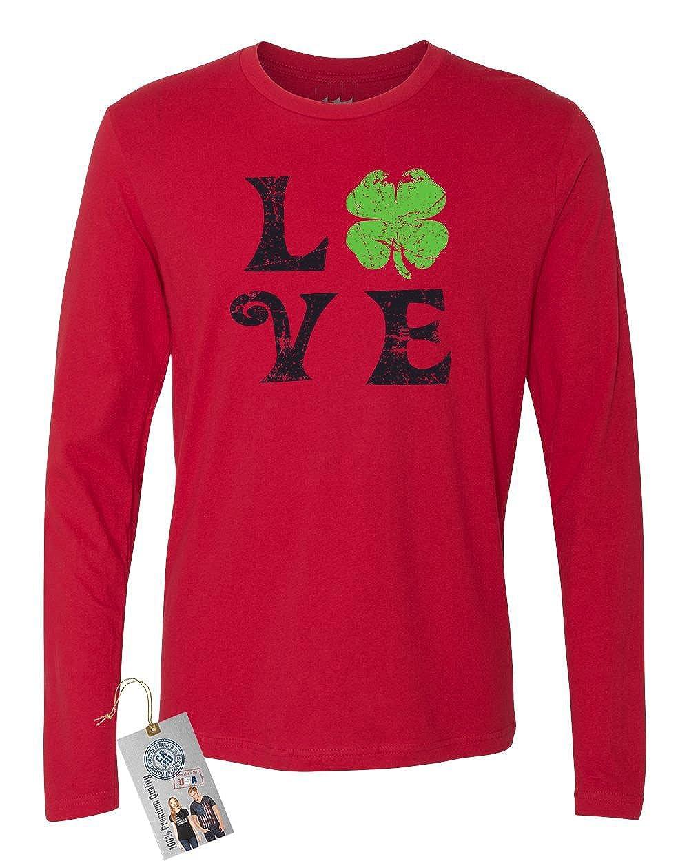 St Patricks Day Love Shamrock Mens Long Sleeve